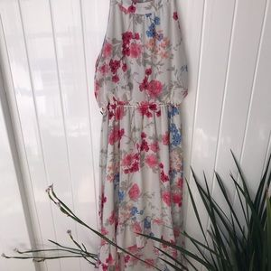 Elle high-low dress with floral print